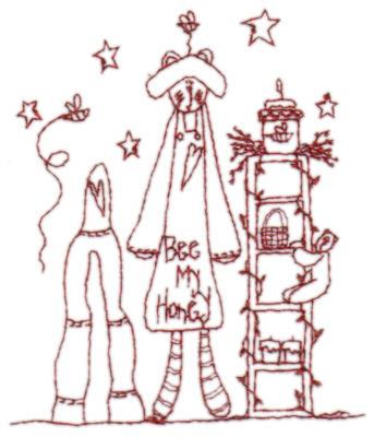 "Embroidery Design: Snickerdoodle Bee my Honey3.34"" x 3.91"""