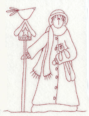 """Embroidery Design: Birdhouse and Woman (large)4.68"""" x 5.81"""""""