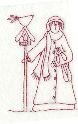 """Embroidery Design: Birdhouse and Woman3.08"""" x 3.81"""""""