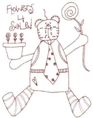 """Embroidery Design: Snickerdoodle Flower Bear (large)4.66"""" x 5.98"""""""