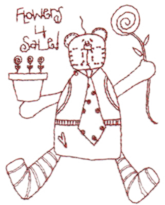"""Embroidery Design: Snickerdoodle Flower Bear3.11"""" x 3.98"""""""