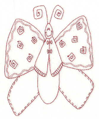 """Embroidery Design: Snickerdoodle Butterfly 2 (large)4.73"""" x 5.82"""""""
