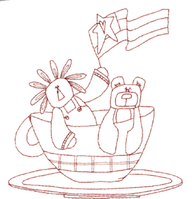 """Embroidery Design: Snickerdoodle Cup of Toys (large)5.30"""" x 5.86"""""""