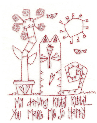 """Embroidery Design: Kitty Makes Me Happy (large)4.59"""" x 5.89"""""""