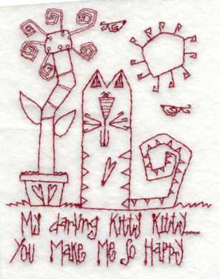 """Embroidery Design: Kitty Makes Me Happy3.04"""" x 3.89"""""""