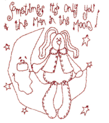 "Embroidery Design: Snickerdoodle Moon Doll3.09"" x 3.87"""