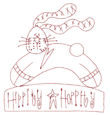 "Embroidery Design: Snickerdoodle Hippity Hoppity (large)5.35"" x 5.88"""