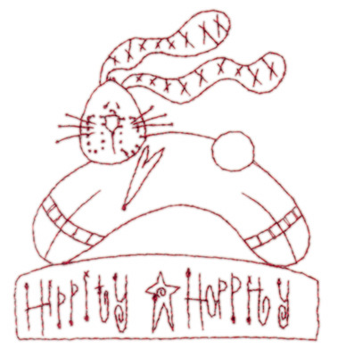 "Embroidery Design: Snickerdoodle Hippity Hoppity3.52"" x 3.88"""
