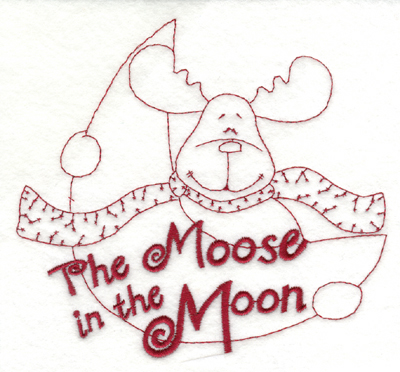 """Embroidery Design: Snickerdoodle Moose in the Moon (large)5.93"""" x 5.55"""""""