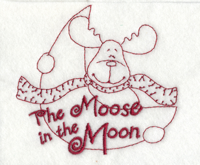 """Embroidery Design: Snickerdoodle Moose in the Moon3.93"""" x 3.68"""""""