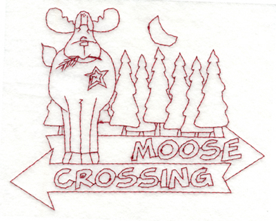 """Embroidery Design: Snickerdoodle Moose Crossing (large)5.99"""" x 4.84"""""""