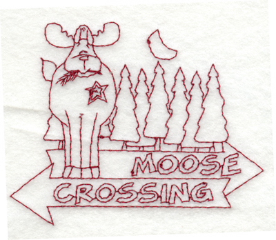 """Embroidery Design: Snickerdoodle Moose Crossing3.99"""" x 3.23"""""""