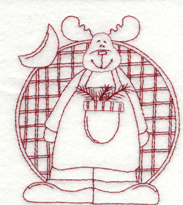 """Embroidery Design: Snickerdoodle Moose3.38"""" x 3.96"""""""