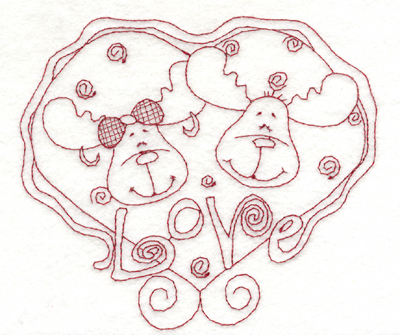 """Embroidery Design: Snickerdoodle Moose Love (large)5.99"""" x 5.34"""""""