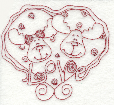 "Embroidery Design: Snickerdoodle Moose Love3.99"" x 3.56"""