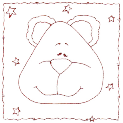 """Embroidery Design: Snickerdoodle Bear 4 (large)5.55"""" x 5.63"""""""