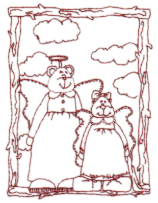 """Embroidery Design: Snickerdoodle Grand Angels2.97"""" x 3.99"""""""