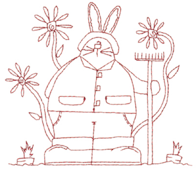 "Embroidery Design: Snickerdoodle Spring Bunny (large)5.83"" x 5.10"""