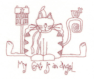 """Embroidery Design: My Cat is an Angel (large)5.76"""" x 4.99"""""""