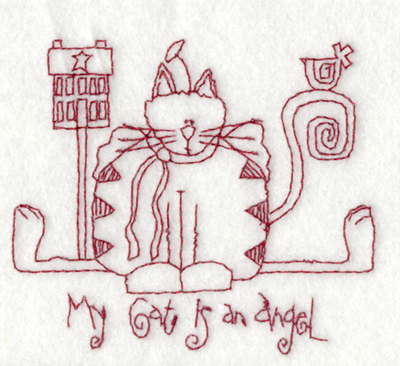 """Embroidery Design: My Cat is an Angel3.76"""" x 3.26"""""""