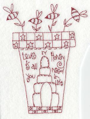 "Embroidery Design: Honey Pot4.47"" x 5.80"""