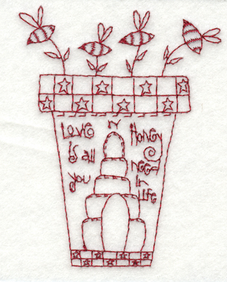 "Embroidery Design: Honey Pot (small)2.94"" x 3.81"""