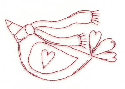 "Embroidery Design: Snickerdoodle Winter Love Bird3.8"" x 2.48"""