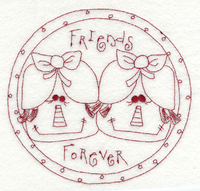 """Embroidery Design: Friends Forever5.85"""" x 5.70"""""""