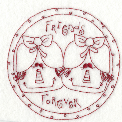 "Embroidery Design: Friends Forever (small)3.98"" x 3.88"""