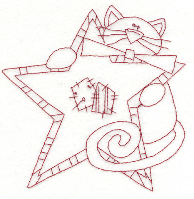 """Embroidery Design: Cat With Star (large)5.64"""" x 5.77"""""""