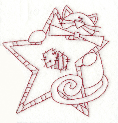 "Embroidery Design: Cat With Star3.76"" x 3.85"""