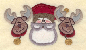 """Embroidery Design: Santa with two reindeer appliques5.67""""w X 3.12""""h"""