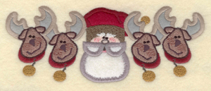 """Embroidery Design: Santa with four reindeer appliques7.14""""w X 2.79""""h"""