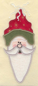 """Embroidery Design: Large Santa head with 3 appliques3.71""""w X 9.01""""h"""