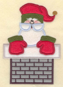 """Embroidery Design: Santa in chimney appliques4.95""""w X 6.98""""h"""