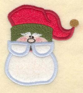 """Embroidery Design: Santa head double applique3.38""""w X 3.75""""h"""