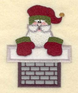 "Embroidery Design: Santa small in chimney appliques3.02""w X 3.85"""