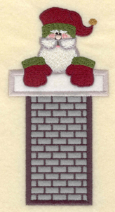 """Embroidery Design: Santa in long chimney appliques3.02""""w X 5.93""""h"""