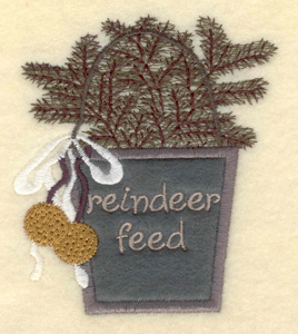 """Embroidery Design: Reindeer Feed3.35w X 3.75""""h"""