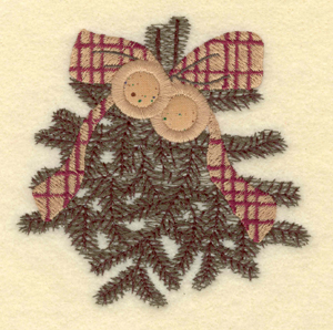 "Embroidery Design: Christmas wreath with applique bells3.93""w X 3.92""h"