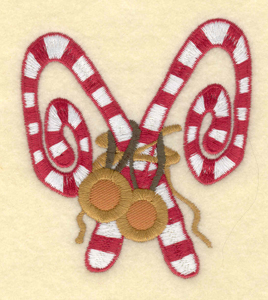 "Embroidery Design: Candy canes with bells3.16""w X 3.56""h"