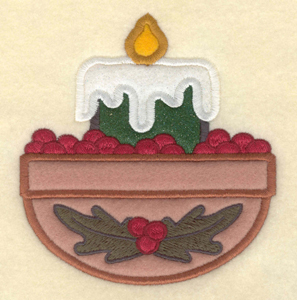 "Embroidery Design: Large candle applique with cranberries4.37""w X 4.68""h"