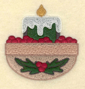 """Embroidery Design: Medium candle applique with cranberries2.92""""w X 3.06""""h"""