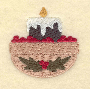 """Embroidery Design: Small candle with cranberries1.95""""w X 1.99""""h"""