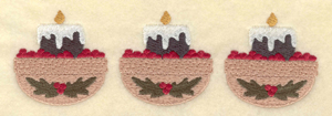 """Embroidery Design: Three candles with cranberries6.36""""w X 1.99""""h"""