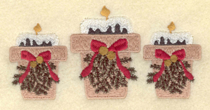 """Embroidery Design: Three candles with bows4.52""""w X 2.21""""h"""