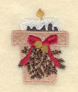 """Embroidery Design: Single candle with bow1.52""""w X 2.01""""h"""