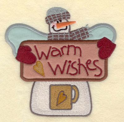Embroidery Design: Snowman with Appliques Warm Wishes5.30w X 5.30h