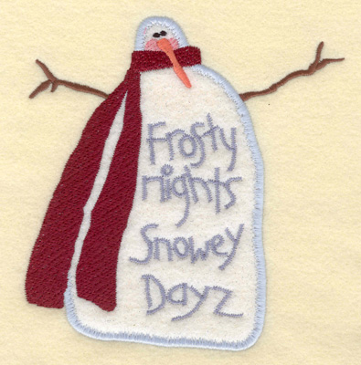 Embroidery Design: Snowman Applique Frosty Nights5.53w X 5.90h