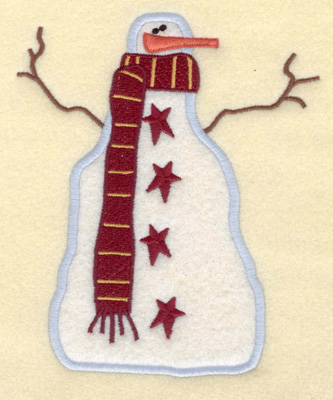 Embroidery Design: Snowman Applique with Stars4.98w X 6.05h